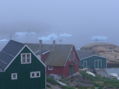 The local coastline has been steeped in fog which prevents helicopters from flying the Upernavik to Kullorsuaq leg. (Photo M. Turrin)