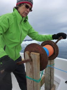 M. Turrin uses the manual winch to lower the CTD. (Photo D. Porter)