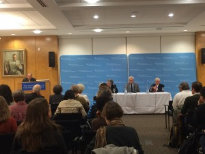 Steven Cohen, Michael Gerrard, Thomas Jorling, and Leon Billings at the panel discussion on October 22, 2014.