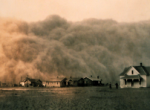 A dust storm engulfs Stratford, Texas in April of 1935. The drought of 1934 was likely made worse by dust storms triggered by the poor agricultural practices of the time. Credit: NOAA/George E. Marsh Album