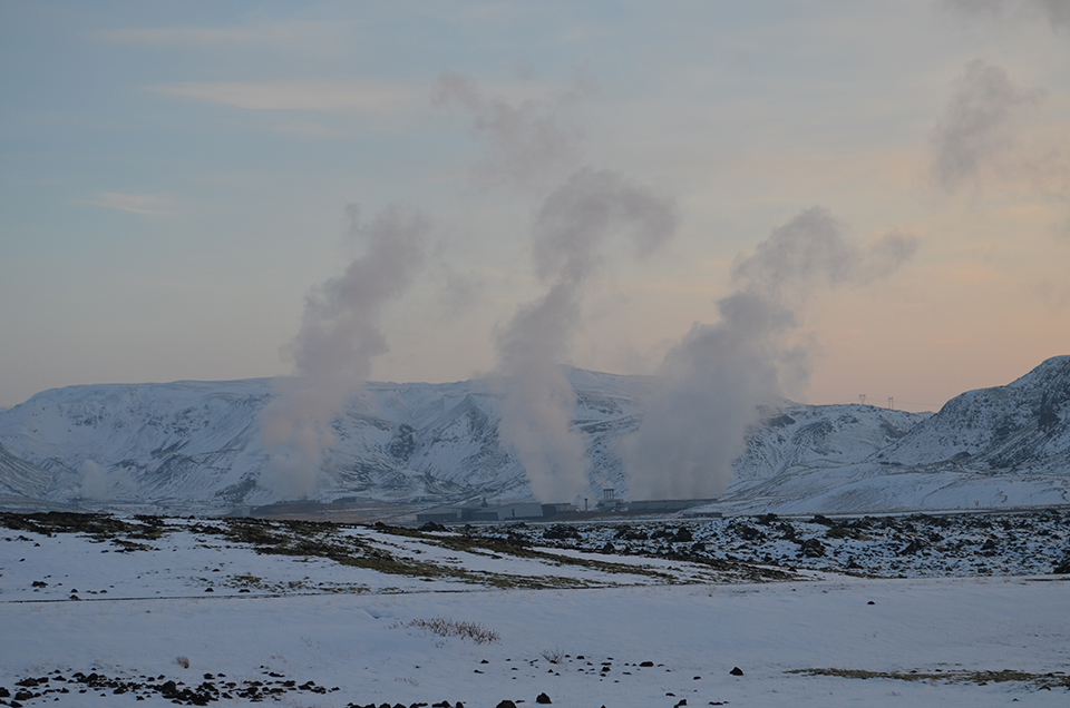Plants like Hellisheidi (seen here from the drill site) could grow and multiply if proponents win on a proposal to lay a giant undersea electric-transmission cable to Europe. This would allow Iceland to export huge stores  untapped energy; but many worry it would mar the landscape, and introduce new environmental challenges.