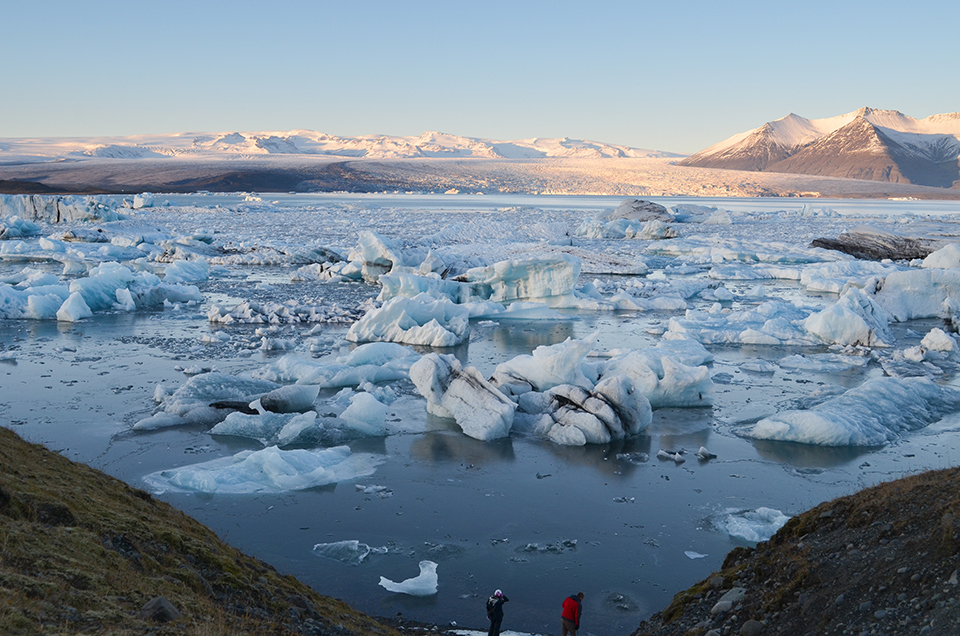 Iceland's glaciers cover more than 10 percent of the country, but now they are disintegrating. At the Jokulsarlon glacial lagoon, icebergs calve off and float around before washing out to the nearby Atlantic Ocean.  The lagoon has grown fourfold since the 1970s and now covers close to seven square miles, as the ice pulls back.