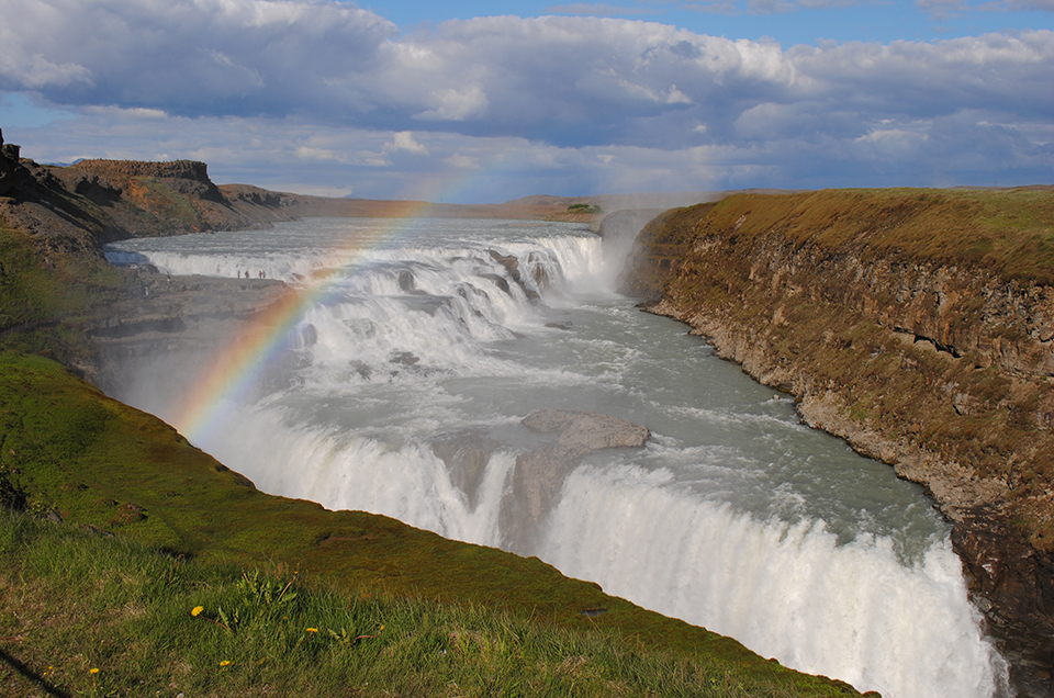 Increased water flow has a temporary upside: increased hydropower potential. The iconic Golden Falls, outside Reykjavik, will probably never be dammed, but other sites well may be—at least until glacial  runoff peters out. (Courtesy Martin Stute, Lamont-Doherty Earth Observatory)