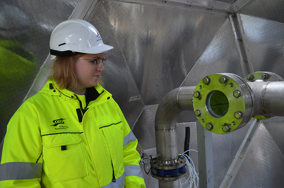 "The team can check through a window to make sure the highly pressurized gases are completely dissolved before going down. ""If these pipes broke, we would all  die in a couple of seconds,"" notes Aradottir. She earned her PhD. in geochemistry working on the project."