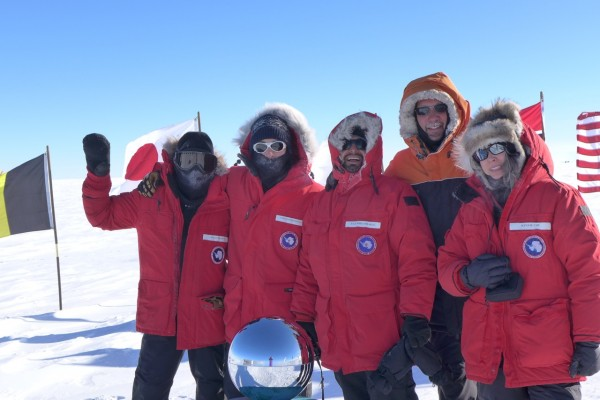 IcePod team at South Pole (left to right) Scott Brown, Chris Bertinato, Tej Dhakal, unidentified, Winnie Chu (photo by R. Bell)