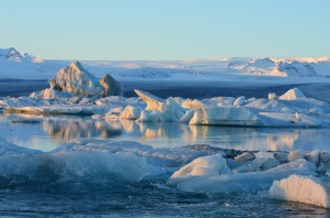 Due to warming climate, Iceland's many glaciers are melting. This lagoon of icebergs flowing into the ocean is expanding rapidly.