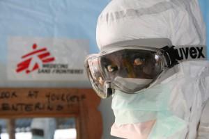 Ebola worker Monrovia, Liberia. Photo: Caroline Van Nespen/Medecins Sans Frontieres