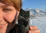 Underground, carbon dioxide disperses through volcanic basalt, and solidifies into a substance similar to limestone. A geologist shows off a core taken from the injection zone.
