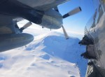 Icepod flying over the Antarctic ice towards Mt. Erebus (photo W. Chu)
