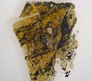 Bridgmanite was identified in a shock-melt vein within the Tenham meteorite. Photograph by Chi Ma, Caltech