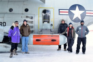 Lamont-Doherty scientists Robin Bell, Chris Bertinato, Nick Frearson, Winnie Chu and Tej Dhakal with IcePod.
