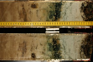 Each core is split in half—one side for the archives, the other, for analysis. They are photographed to preserve the sharp colors that will fade as the sediments react with oxygen. (Gene Henry)