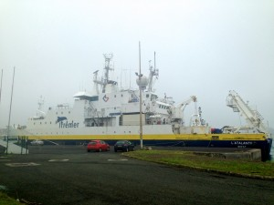 The research vessel L'Atalante in port in New Caledonia.