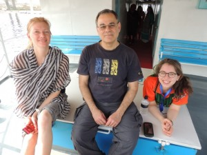 Sitting on deck between Liz Chamberlain and Miriam Kaplan and we sail across Bangladesh.