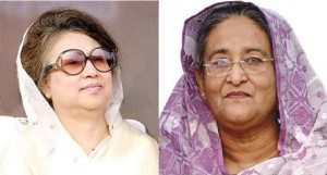 Opposition leader Khaled Zia (left) and Prime Minister Sheikh Hasina (right)have been alternating as Prime Minister since 1996.