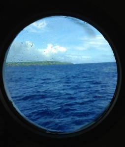 The island country of Niue seen through my porthole.