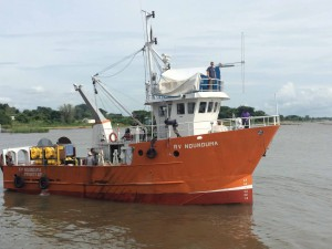 "Jim Gaherty and colleagues leave port in Chipoka, Malawi aboard the R/V Ndunduma to deploy ""lake"" bottom seismometers"