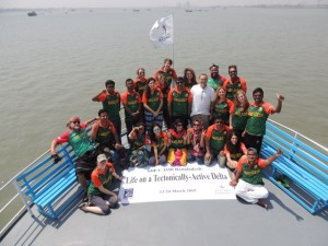 Our last group photo on the bow of the Kokilmoni in our Bangladeshi cricket shirts