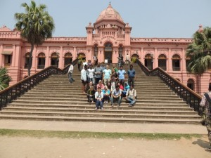 Our last group photo on the steps of the Ahsan Manzil in Old Dhaka