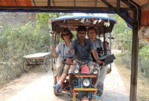 Doug and Diane following me on their motorized rickshaw truck across Gosaba Island