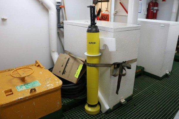 During our transit south to Antarctica we deployed seven ARGO floats (yellow device in picture) for the University of Washington. They drift with the currents in the oceans, measure profiles of salinity and temperature and send those via satellite to researchers on land. They are part of an international effort to better monitor the conditions of the oceans.