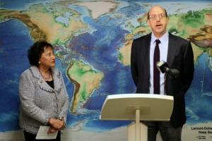 Congresswoman Nita Lowey (left) listens as Carl Brenner, director of the new office,  explains it scope.