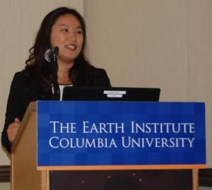 Bo Ra Kim presents her team's project on marine debris.