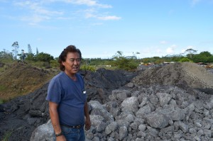 Melvin Sugimoto, a farmer and construction contractor, watched as lava obliterated several acres of his land. He fought back with heavy equipment in an effort to keep the flow at bay.