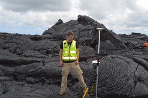 Lava creates its own topography, but exactly what factors are at work are not well understood. Graduate student Nathan Stephenson at the nearby University of Hawaii, Hilo, helps map a recent flow using GPS.