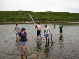 Students coring in the Bahamas. Photo: Maayan Yehudai