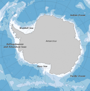 Antarctica from below. A Nature Review article highlights novel biodiversity found below the surface of the ice. Photo: NASA