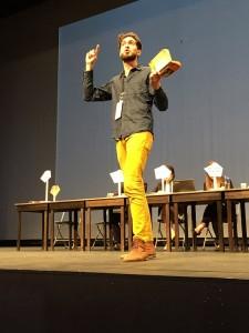 Make it Work enlisted artists, actors and dancers in the Programme d'expérimentation en art et politique de Sciences Po to use stage work and meditative methods to improve channels of communication. Photo: Logan Brenner
