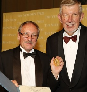 Michael Purdy, right, Columbia University executive vice president for research, presented Stephen Sparks with the Vetlesen Prize -- a gold medal and a check for $250,000. Photo: Michael DiVito