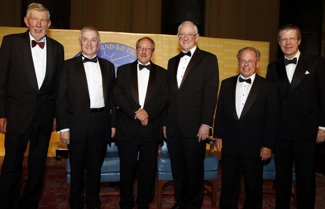 From left: Michael Purdy, executive vice president for research, Columbia University; xxxxx, a previous Vetlesen winner; this year's winner Stephen Sparks; Sean Solomon, director of the Lamont-Doherty Earth Observatory; Steven Cohen, executive director of the Earth Institute; and xxxxxxx