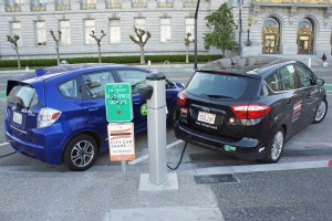 Electric vehicles at a public charging station in San Francisco