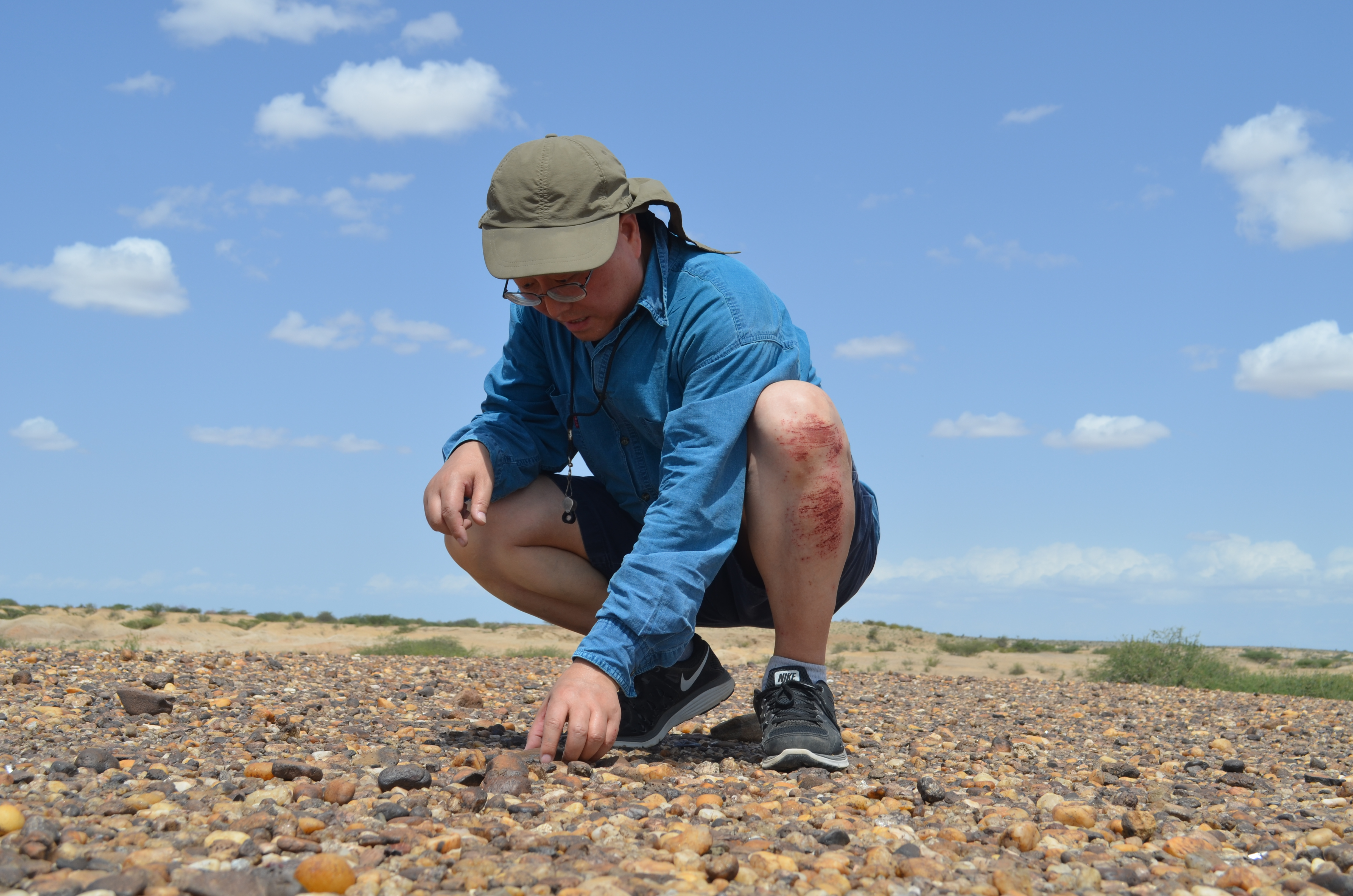 Geochemist Tanzhuo Liu hunts for rock samples that he hopes will help chart past climate swings.
