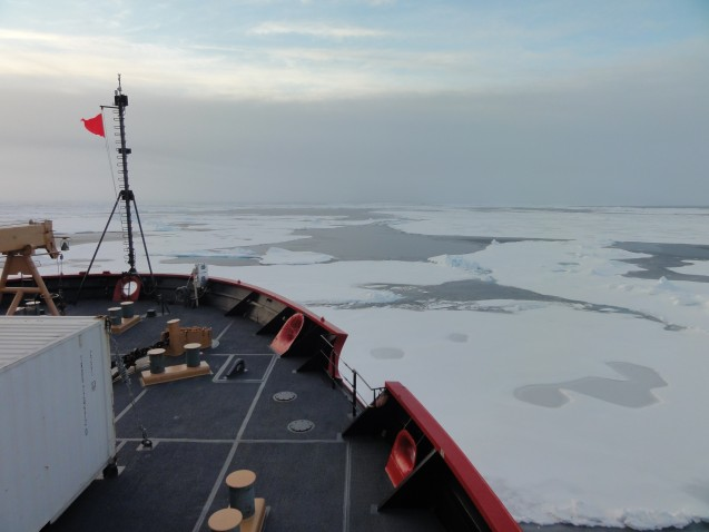 Looking out over the Arctic sea ice as the ship moves out over the deeper ocean. (Photo credit Tim Kenna)