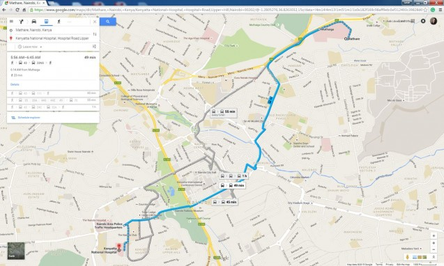A matatu route worked out on Google Maps.