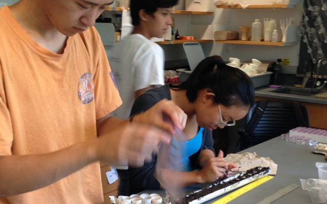 Eric Sun, Avery Templo and Amy Zhang compare the amounts of organic and inorganic material in a soil sample. They also worked with Lamont scientist Liz Corbett to test for methane content from the marsh's decaying plant matter.