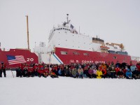 Gathered at the North Pole are the crew of U.S. Coast Guard Cutter Healy and the GEOTRACES science team.  On Sept. 5th at 7:47 AM the ship reached the North Pole, becoming the 1st U.S. surface vessel to do so unaccompanied. (photo U.S. COAST GUARD)