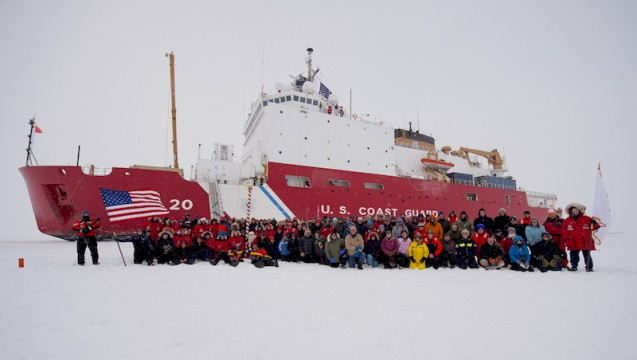 47 AM the ship reached the North Pole, becoming the 1st U.S. surface vessel to do so unaccompanied. (photo U.S. COAST GUARD)