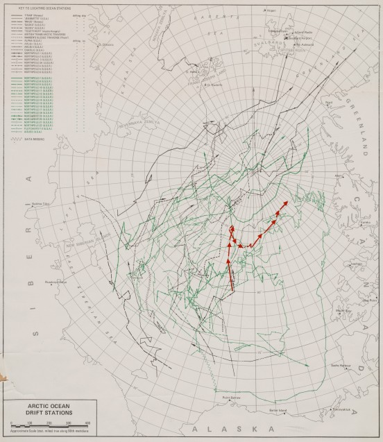 Annotated historic map from the International Geophysical Year (1957-1958) of the Floating Arctic Stations. Red line shows Alpha Station, the US first floating ice research station, representing some of the original 'Arctic drift studies'. (Photo/annotation M. Turrin; map Ken Hunkins)
