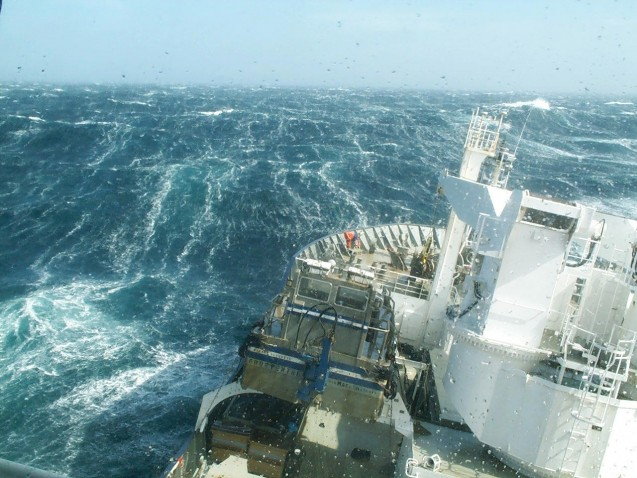 A research vessel plows through the Southern Ocean, who rough waters play an outsize role in absorbing carbon dioxide from the air. (Nicolas Metzl, LOCEAN/IPSL Laboratory)
