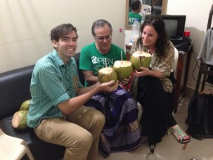 Matt, Céline and myself in a lungi toast the successful OSL sampling with green cocoanut water.