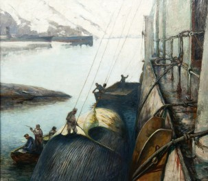 A 1920s painting by Carl Dornberger of a blue whale being flensed at Whalers Bay. Wikimedia commons