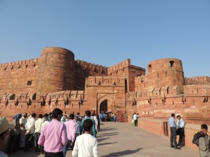 The entrance to the Red Fort at Agra, a seat of the Mughal Emperors, and still used as by the Indian military.