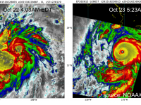 Enhanced infrared satellite imagery (VIIRS) of Hurricane Patricia, at ~4 AM Thursday October 22 (left) and ~5 AM Friday October 23 (right). Brighter colors represent higher cloud tops, indicating a stronger storm.