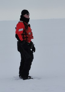Sampling on the ice also means being aware of your environment. A required component is the Polar Bear watch. Fortunately we have not seen a polar bear when out on the ice.