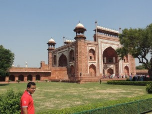 The massive South Gate entrance to the Taj Mahal complex.