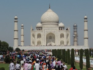 The Taj Mahal. You can see its enormous size from the line of people waiting to get inside standing on the pedestal. The line completely circled the tomb on this holiday weekend.